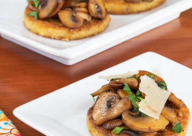 Polenta Bites with Garlic Butter Mushrooms